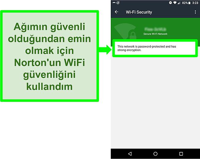 Norton Mobile Security'de güvenli bir WiFi ağını gösteren bir WiFi taramasının ekran görüntüsü.