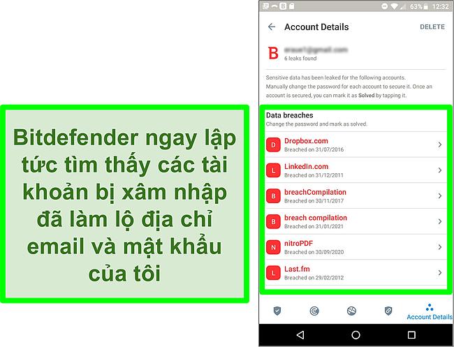 Ảnh chụp màn hình máy quét vi phạm dữ liệu của Bitdefender tìm thấy nhiều tài khoản bị lộ.