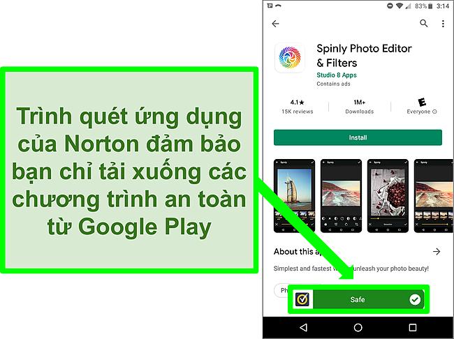 Ảnh chụp màn hình một ứng dụng trong cửa hàng Google Play bị quét Norton gắn cờ là