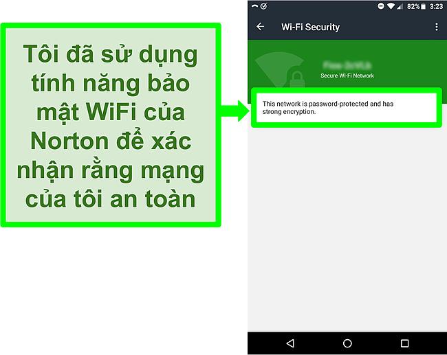 Ảnh chụp màn hình quét WiFi trong Norton Mobile Security cho thấy một mạng WiFi an toàn.