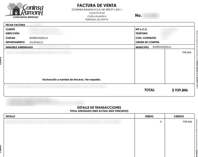 A Coninsa Ramon invoice, with sensitive information redacted