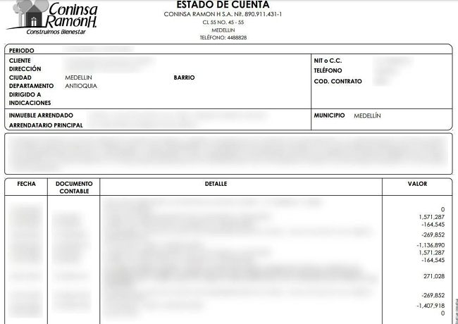 An account statement from a Coninsa Ramon customer, with sensitive information redacted
