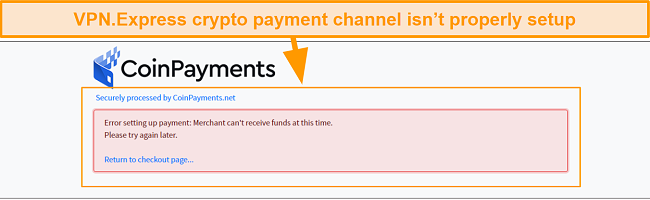 Screenshot of Error message when I tried to pay for VPN.Express with crypto
