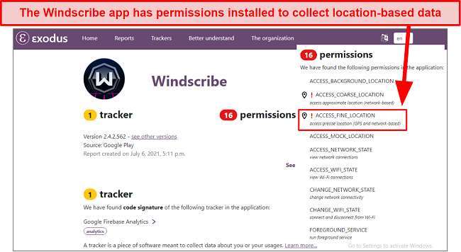Screenshot of Windscribe app being checked for trackers with Exodus