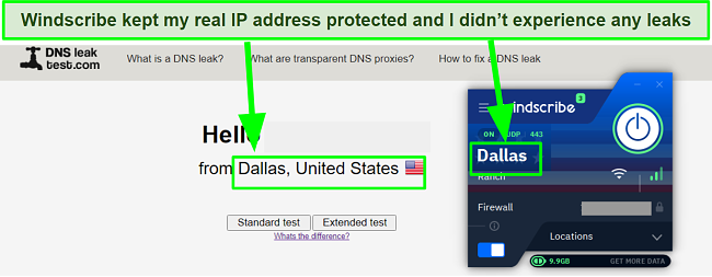 Screenshot showing DNS leak test results passed when connected with WIndscribe