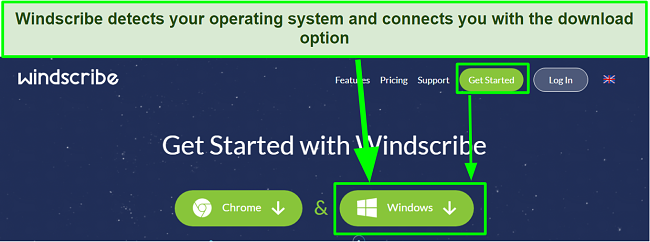 Screenshot showing how to download Windscribe