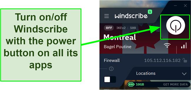 Screenshot showing how to power on Windscribe VPN