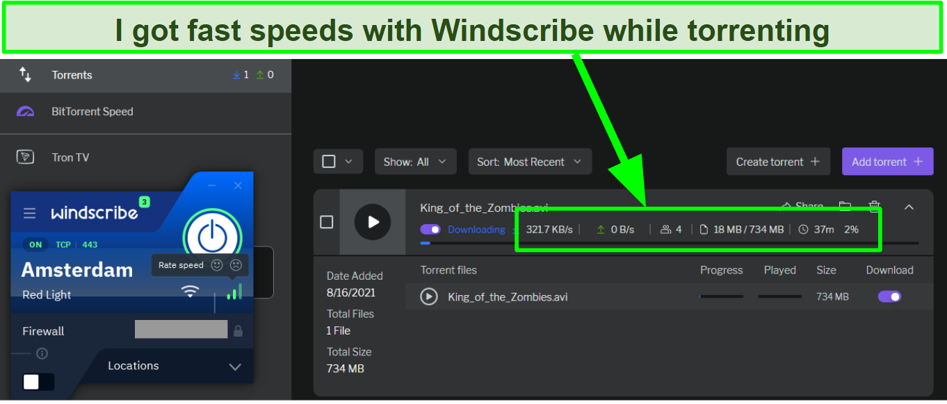 Screenshot of fast speeds while torrenting with Windscribe