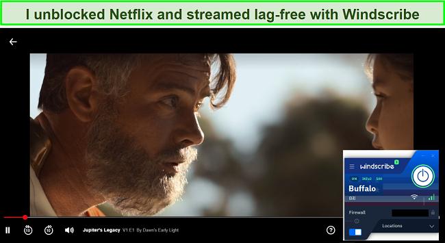 Screenshot of Windscribe pro unblocking Netflix