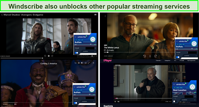 Screenshot showing Windscribe also unblocks other popular streaming services