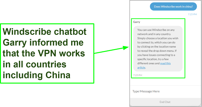 Screenshot of chat with support showing that WIndscribe works in China