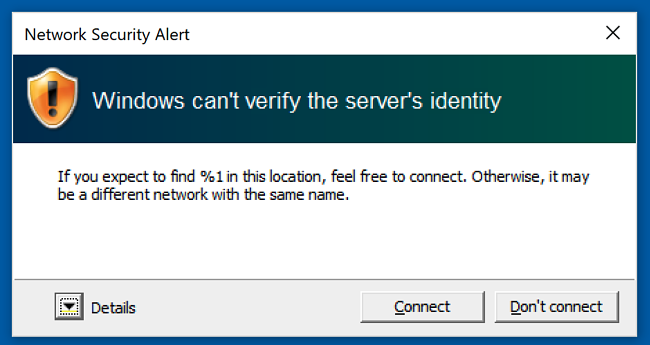 Windows certificate error for our evil network