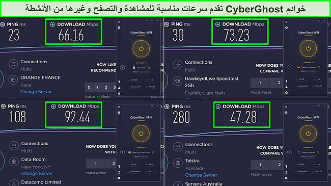 لقطة شاشة لاختبارات سرعة Ookla من فرنسا وألمانيا والولايات المتحدة وأستراليا تظهر سرعات التنزيل لخوادم CyberGhost.