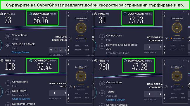 Екранна снимка на тестовете за скорост на Ookla от Франция, Германия, САЩ и Австралия, показващи скорости на изтегляне за сървърите на CyberGhost.