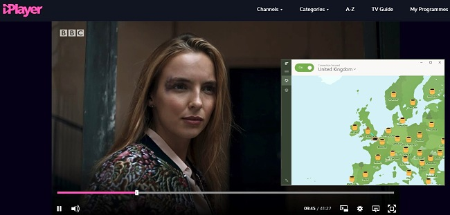 Screenshot of TunnelBear connected to a UK server with BBC iPlayer streaming Killing Eve in the background.