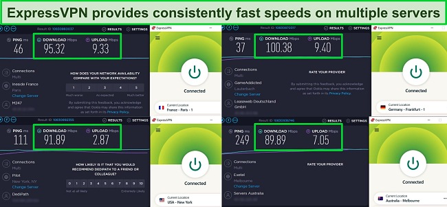 Screenshots of Ookla speed test results with ExpressVPN connected to servers in France, Germany, the US, and Australia.