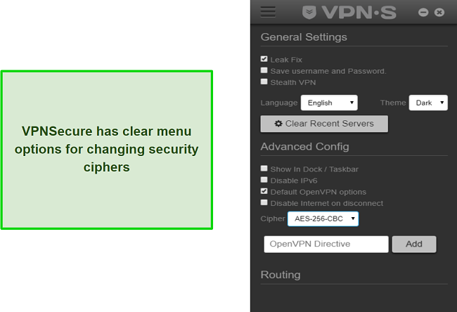 A screenshot of VPNSecure's in-app configuration menu