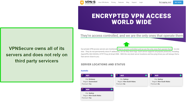 A screenshot of VPNsecure's server list