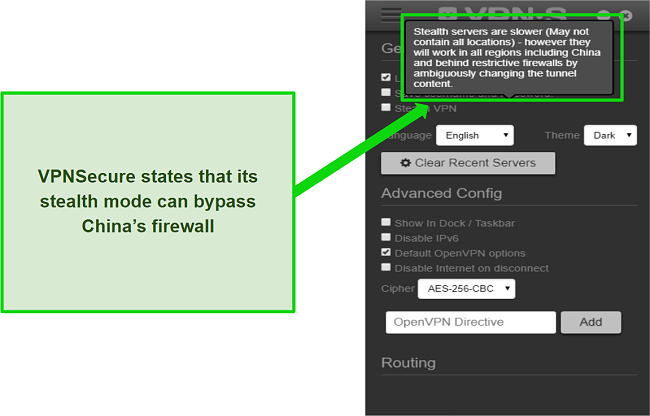 A screenshot showing that VPNSecure's stealth mode claims to bypass China's firewall