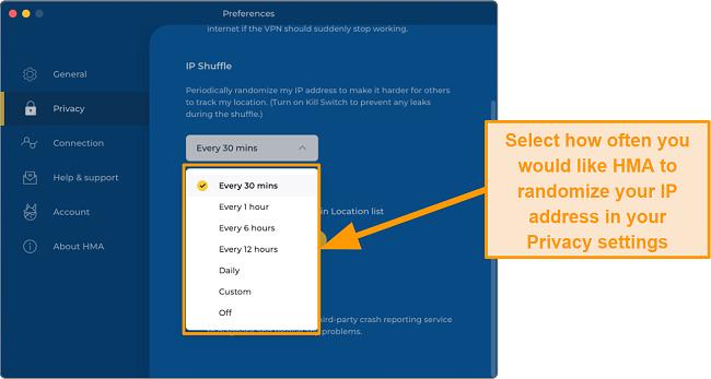 Screenshot of HMA App on Mac Desktop