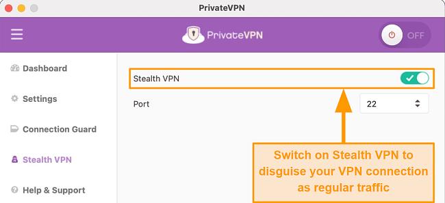 Screenshot of PrivateVPN Server List on Mac Desktop