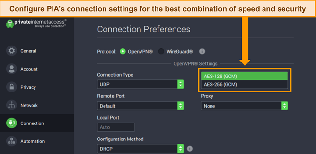 Screenshot of PIA's Windows app with Connection Preferences open and encryption settings highlighted.